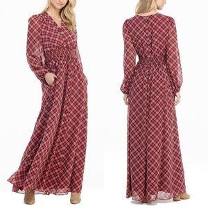 Gal Meets Glam Collection Petite Tartan Maxi Dress